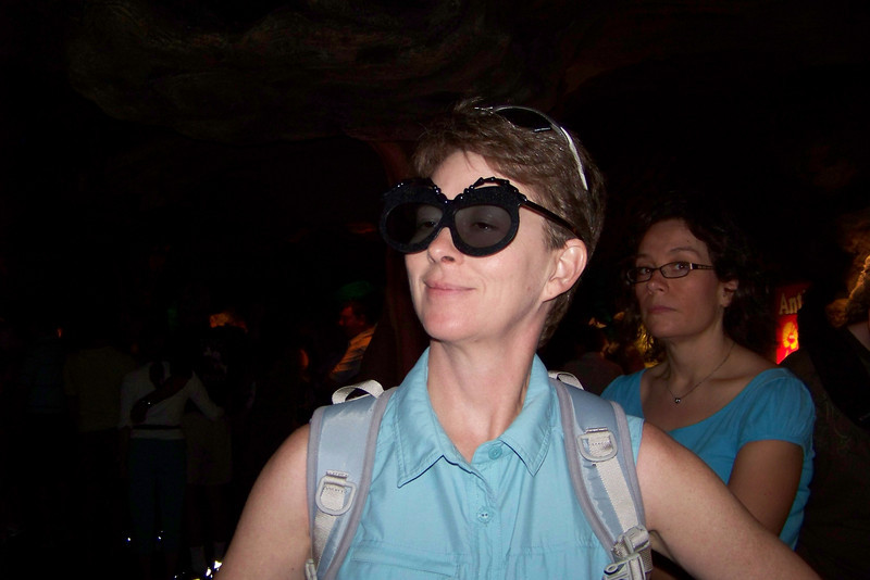 "Patti is modeling her fashionable 3-D glasses while waiting for the next showing of ""It's Tough to be a Bug."""