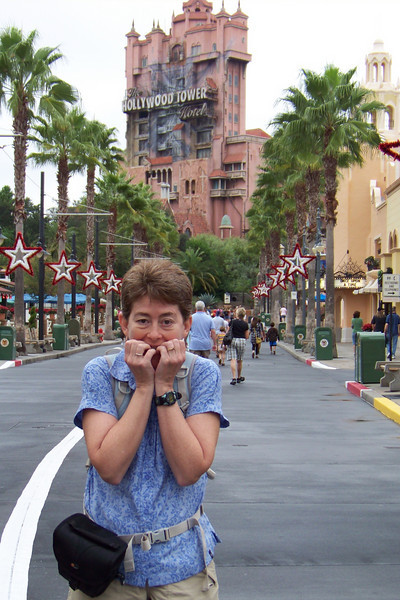 First stop -- Patti's favorite ride in all of Disneyworld: The Hollywood Tower of Terror.  Patti cowers at the thought!