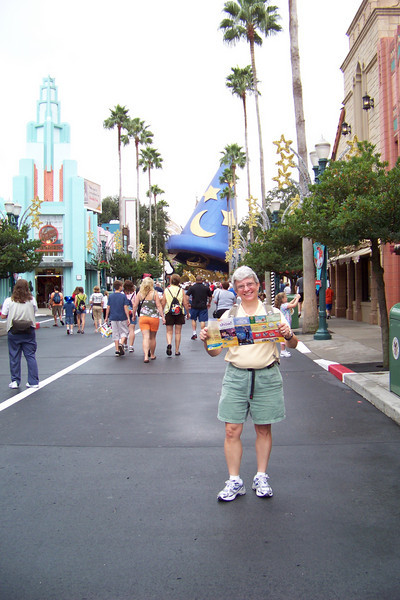 Day 4: Hollywood Studios...Jeane is armed with the park map and is planning a strategy.