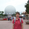 Patti in front of Spaceship Earth at Epcot