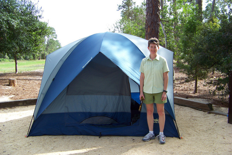 Day 1 of our real vacation:  Patti shows off our beautifully pitched tent at Disneyworld's Fort Wilderness Campground.  We've blown into Florida and set up camp quickly so we can go play!  November 8, 2009