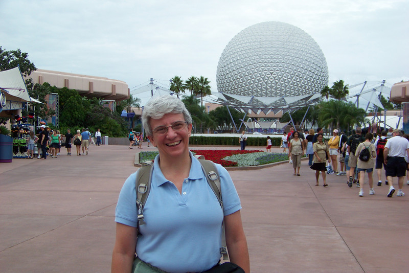 Jeane in front of Spaceship Earth at Epcot...the quintessential Epcot photo that must be taken.