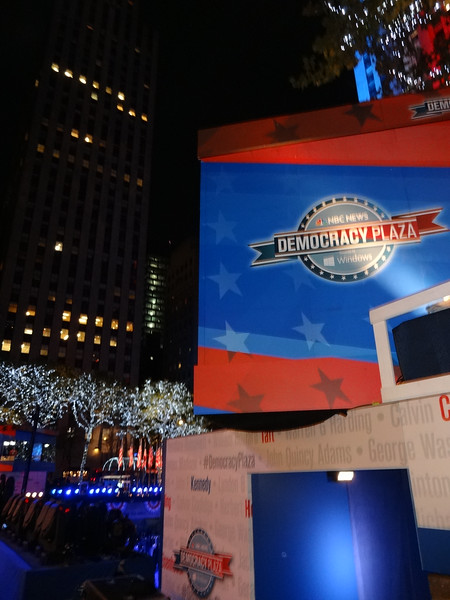 We pass by Rockefeller Center on the way back to our hotel, and discover that NBC News has gone overboard decorating the building and the plaza.
