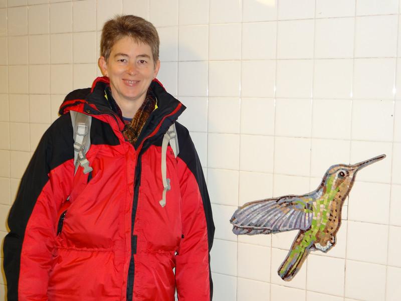Day 3: Patti likes the hummingbird mosaic in the subway station.  November 4, 2012