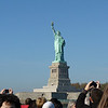 Our first decent view of the Statue of Liberty -- the boat is packed with tourists.