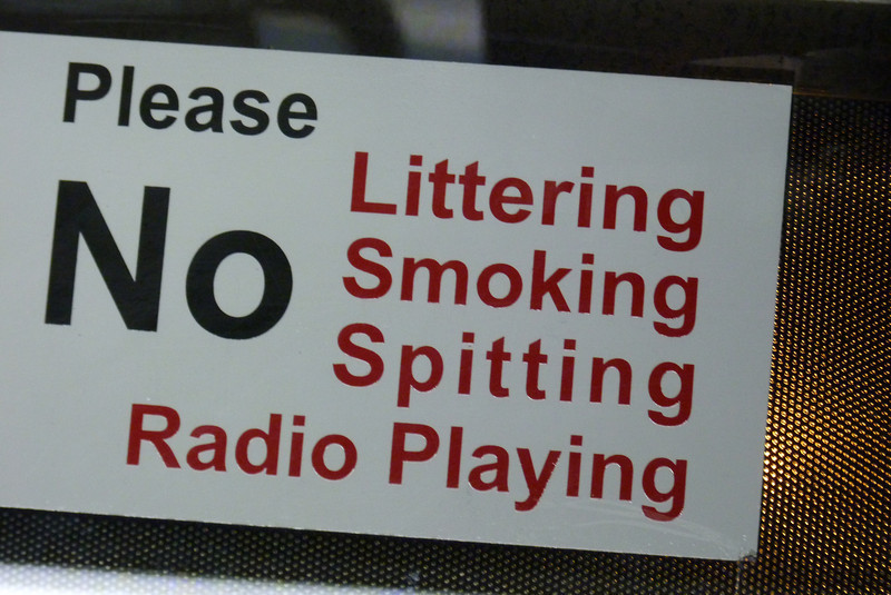 We were dismayed to find out that spitting was not allowed on the subway.