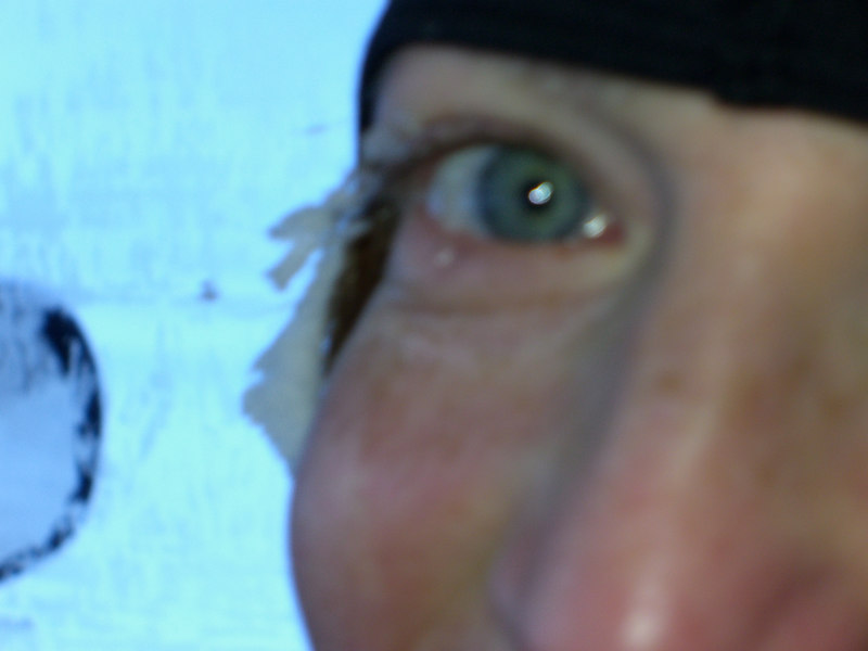 frozen eyelashes.... it was -35F w/o the wind chill!!!!