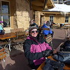 A day of downhill skiing under our boots, we stop for an apres-ski hot chocolate.