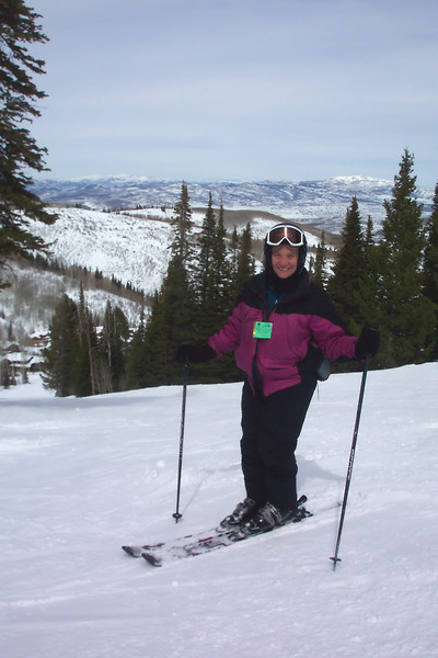 Another new day, not quite as sunny as the last one, but Jeane is ready to zip down the ski trail.