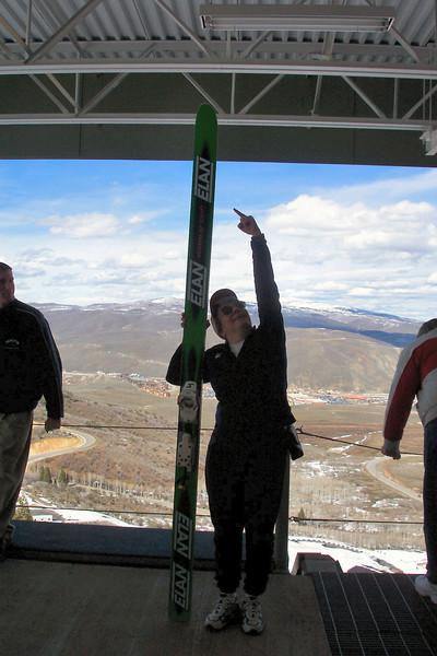 Jeane shows the ski used for ski jumping...huge!