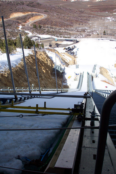 Looking down the ski jump -- makes us a little acrophobic.