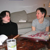 Maggie and Sara playing scrabble