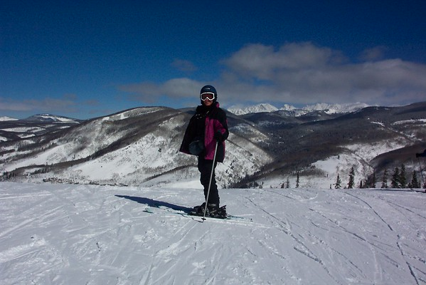 Jeane is preparing to ski off a precipice.  March 3rd, 2008