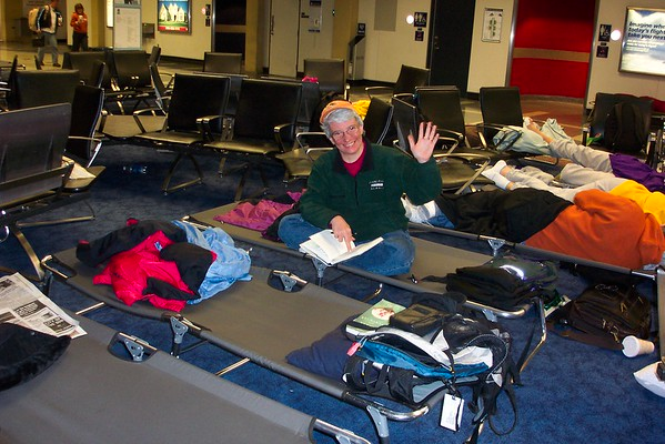 Camp DFW...we made several futile attempts to return to Louisville during a raging snowstorm that stranded us in Dallas.  The airport pulled out these lovely cots for us.  March 6, 2008