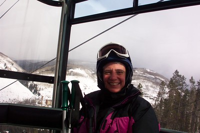 On this cold day we take advantage of the gondola to get up the mountain; it's much warmer than the ski lift.