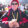 Enjoying the apres-ski hot chocolate.