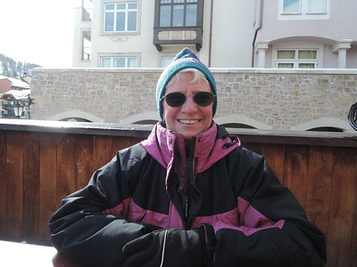 It's cold, and we have to leave on our insulated parkas for the apre-ski beverages.