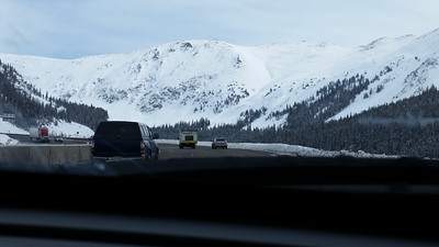 Here we're approaching Loveland Pass, one of the places we were concerned about, since the pass can be snowy and icy, and you don't know what you'll find on the other side of the pass.  It turned out that the roads were perfectly fine.