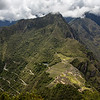 Looking down at Macchu Picchu from the top of Huayna Picchu Mountain