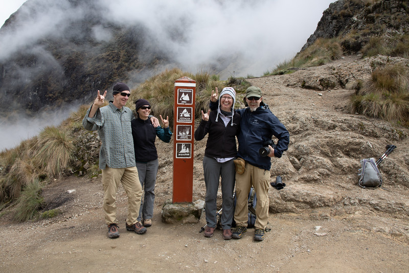 The Crew and Happy Llama Signs - Dead Woman Pass - 4215 meters