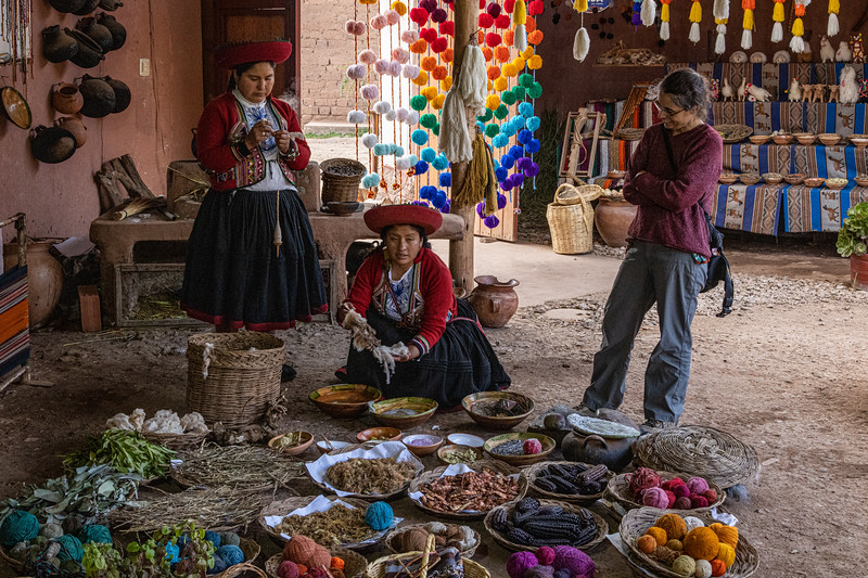 Susan with the weavers - Chinchero