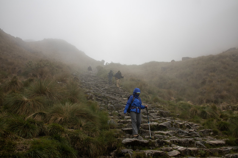 Down from the pass in the rain