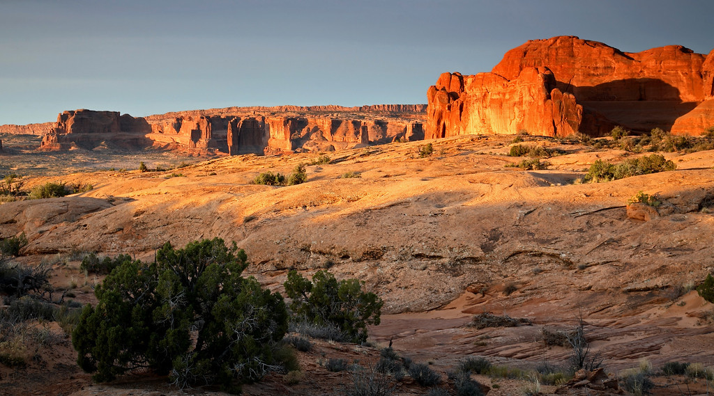 In Arches National Park at sunrise