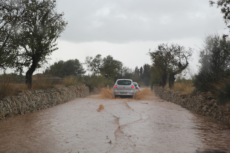Road after a heavy shower, Campos- Santanyi