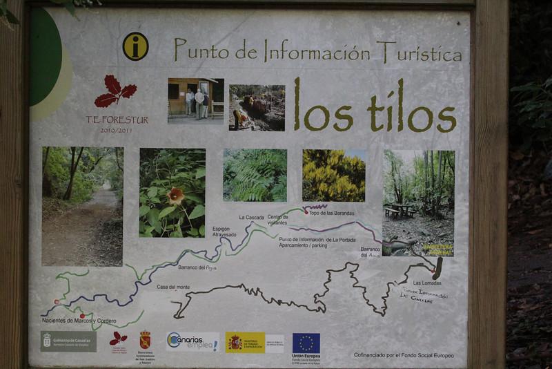 Los Tilos, ~900m, route PR.LP 6 (K)