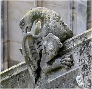 (unedited) Stone carved figures at the arches of the St. John's cathedral, Den Bosch NL