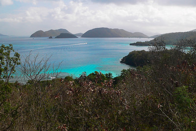 The view from peace hill. Trunk Bay is in the distance