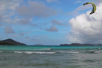 Sapphire Beach and a kite surfer.