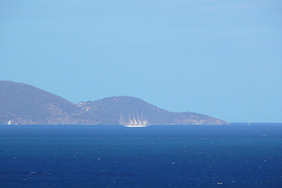 This is a club med cruise ship seen towards Jost Van Dyke (British VI).