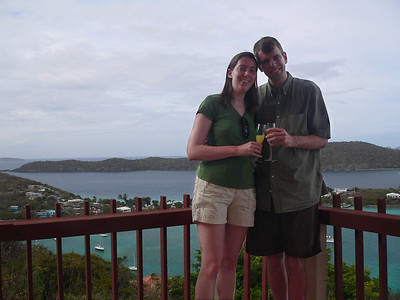 Having a toast on the balcony of our room.