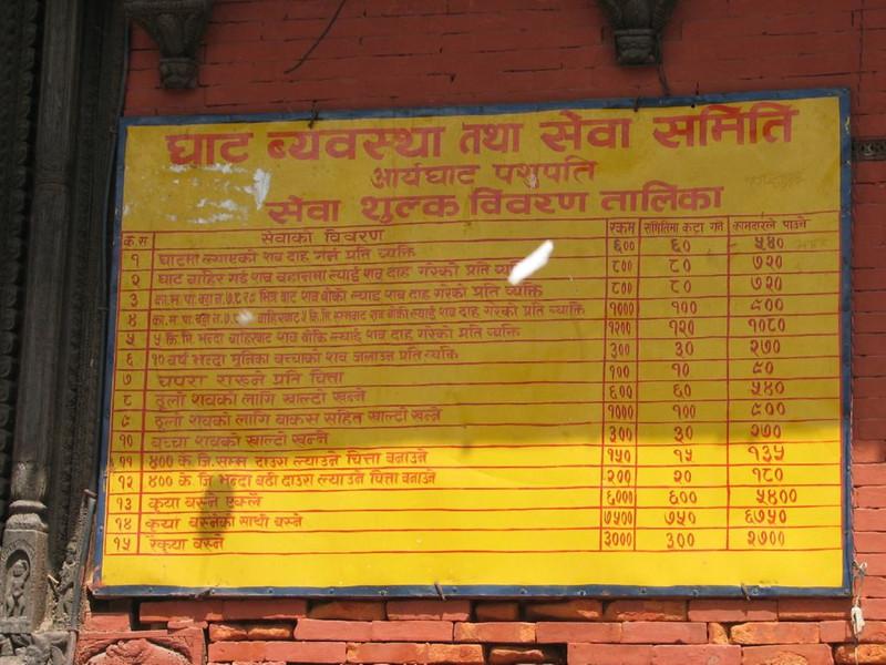 prices cremations (Kathmandu)