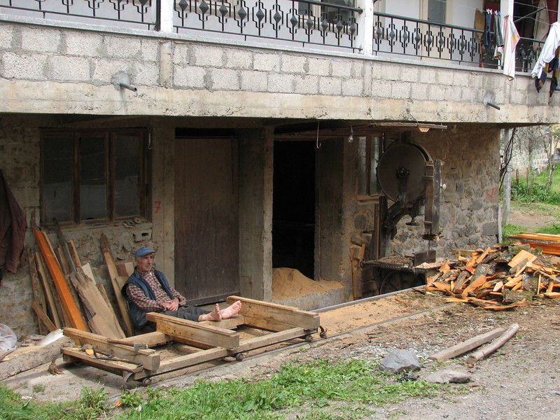 wood sawing in a village near Rize (North East Turkey spring 2007)
