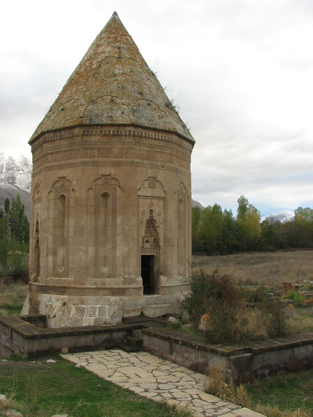 Polygonal mausoleum on the cemetery of Gevas, built in 1335 for Halime Hatun, a female member of a local Seljuk noble family. Gevas is situated on the southern shore of Lake Van. (Bitlis-Van)