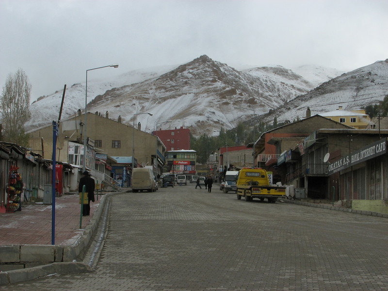 Baskale in the morning, frost and snow. Askale-Esendere (Iranian border)