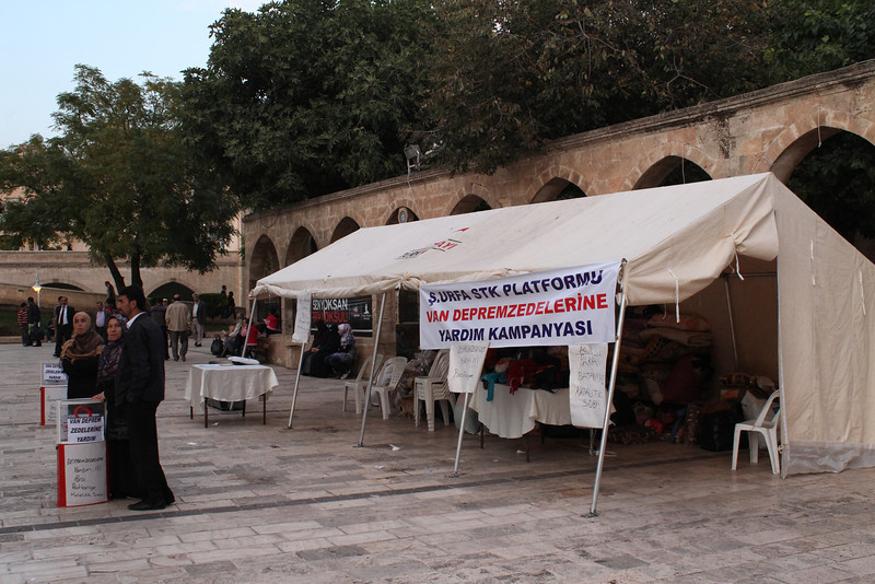 Supporting the victims of the earthquake, Sanliurfa, the great mosque. Birth place of Abraham