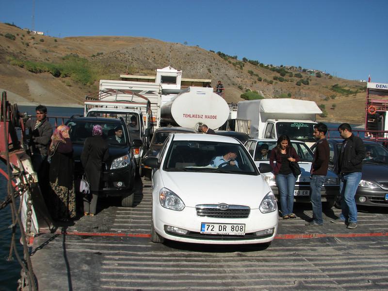 Siverek - with our (rental)car with the ferry across Atatürk Baraji - Nemrut Dagi