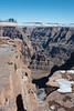 Canyon west skywalk walk crack. The Colorado River is visible below. It's around 1200 meters below the rim.