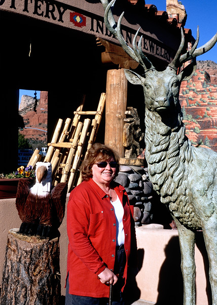 My mother beside a cheesy Sedona store elk sculpture. Her knees were bothering here but she was still in fairly good health in 2004. A few years later her Crohn's disease ordeal began.