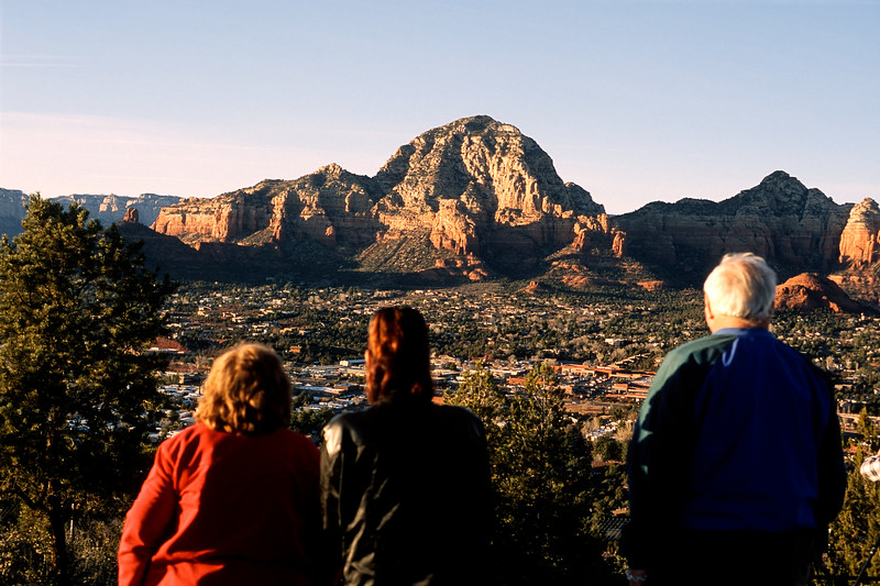 Evelyn, Mali and Frank watching a Sedona sunset.