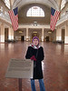 Mali in the registry room in the Ellis island immigration museum.