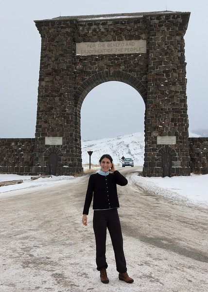 Mali under the Teddy Roosevelt Yellowstone arch. The road up to Mammoth and the Lamar valley is usually open in the winter.