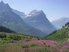 Mountain view from the Going to the Sun road in Glacier National Park.<br /> When we passed through there was a lot of forest fire smoke<br /> in the air.  August 2003.