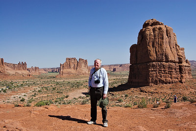 My Pythonesque portrait theory which is mine, which was formulated by me, goes like this: headshot, half body, and full body are correct everything else is wrong! I remember nagging Mali to frame the full body when she snapped this shot of me standing in Arches National Park.  Incidentally, this little park packs more beauty per square kilometer than most parks worldwide.
