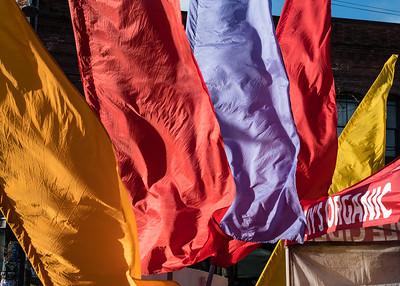 Seattle street market fabrics in the wind.
