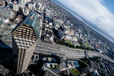 Looking down on a Seattle freeway from the Columbia Center Tower. One of my pet peeves about observation decks is shooting through glass. At least the Columbia Center windows were fairly clean. Not the like the fingerprinted mess I endured during my last CN Tower visit in Toronto.