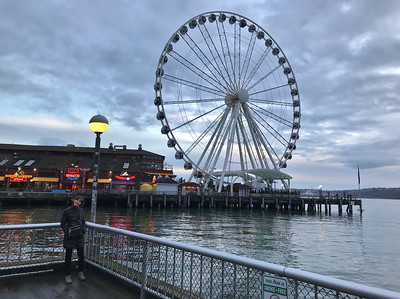 Mali on the Seattle waterfront near the ferris wheel. City ferris wheels are spinning everywhere these days.